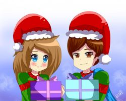 Commission: Christmas Couples by DestinyStarz