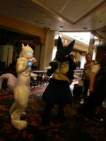 Kumoricon 08: Mewtwo + Lucario by Ellieah