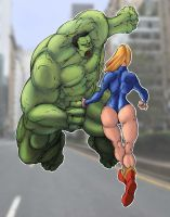 Supergirl vs Hulk by Selkirk (COLORS) by carol-colors