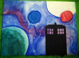 Water Color 1- Silhouette TARDIS by QueenoftheLemurs