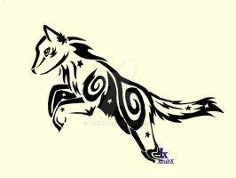 Jumping Starry Tribal Wolf by XcubX