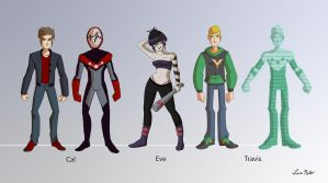 Old projects redesign  Main Characters Lineup by   by Spidersaiyan
