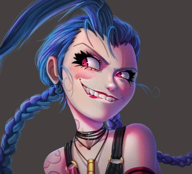 One face a day 184/365. Jinx (league of legends) by Dylean