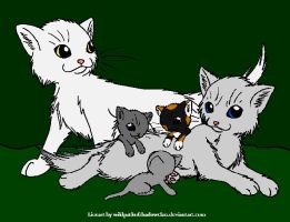 Whitestorm and Willowpelt + kits by DemonicVampyreWolf