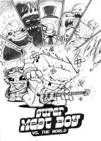 Comic + Game mashup: Super Meat Boy vs. the World by Ben-G-Geldenhuys