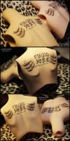 Back tattoo: Twin Graphic text - Kim Jaejoong by asainemuri