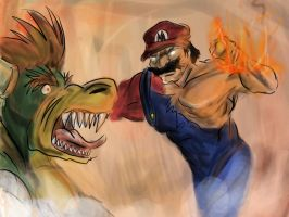 Mario vs Bowser by Bittergeuse