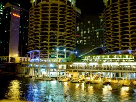 Chicago Riverfront at Night 2 by lightzone