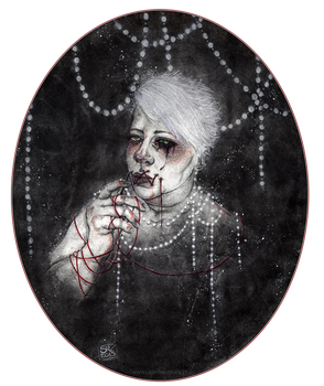 Self-Portrait With Needle and Red Thread by StefaniaRusso