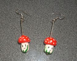 Mushroom Earrings by kratosisy