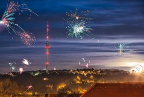 New Year moonrise in Dresden by Torsten-Hufsky