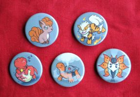 Pokemon Favorite Type Buttons - Fire Type Set by pookat