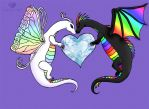 Rainbow Wedding Dragons by Marjolijn-Ashara