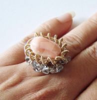 Angelskin Coral Herkimer RING2 by CrysallisCreations