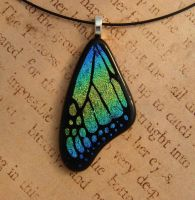 Blue Rainbow Glass Butterfly Wing by FusedElegance