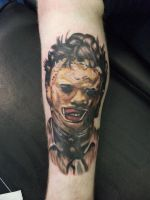 texas chainsaw tattoo leather face by zack-chiswell