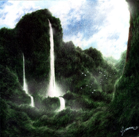 Rainforest Waterfall by JA-punkster