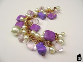 Pearl and Gemstone Cluster Bracelet by TheFuzzyPineapple