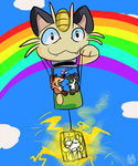 the meowth ballon by HauntedHomo