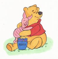Pooh Bear and Piglet by EmailinasBrother