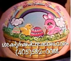 Easter Pregnant Belly Painting by SteadyHandCreations