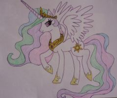 Princess Celestia Sketch Colored by elksongredfeather