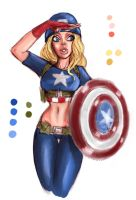 Captain America Girl, WIP by pandatails