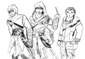 Ezio, Altair and Desmond by queen-of-olympus