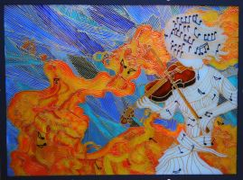 violin elements - glass painting by sintel16
