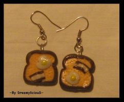 bread with eggs bacon earringS by dreamylicious
