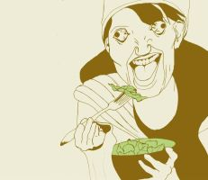 Girl Laughing Alone With Salad by high-fructose