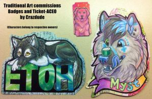Etoh + Myst Badges and Ticket-ACEO comm by Crazdude