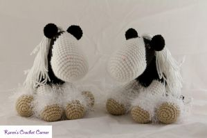 Two Gypsy Vanner Style Ponies by karenscrochetcorner
