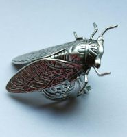 Cicada Silver ring by Pinkabsinthe
