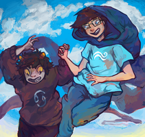 Don't look down, Karkat, you're doing great! by teddy--ursa