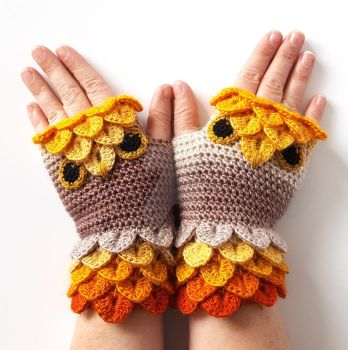 Golden Owl Gloves by FearlessFibreArts