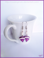 Purple cake earrings - type 1 by CookingMaru