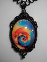 Glass Trippy Oval Pendant by HoneyCatJewelry