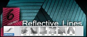 6 Reflective Lines, Photoshop Brushes by designerfied