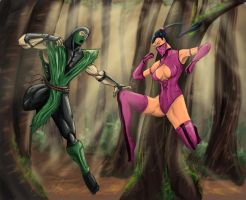 Reptile vs Mileena by Amenoosa