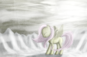 FlutterShy In Snow by ButtonsTheCatt