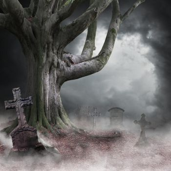 Premade Background Spooky Graveyard by aanantart