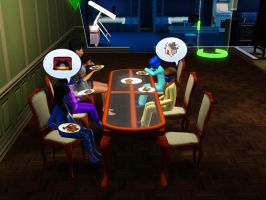 Sims 3 - I chat with Denise during breakfast by Magic-Kristina-KW