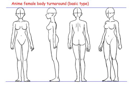 Anime female body turnaround by Yumezaka