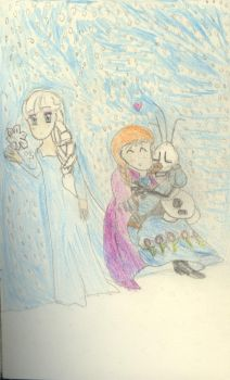 Frozen Anna Elsa and Olaf by OtakuPrincess1991