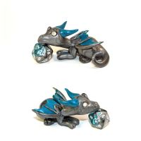 Dice Dragon Teal/Silver - D20 by LittleFatDragons