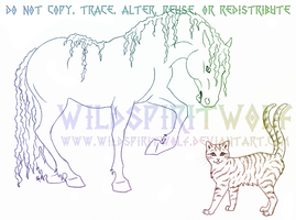 Kelpie And Two Tailed Tabby Sketch by WildSpiritWolf