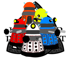 Doctor Who Chibi Dalek Papercraft 5 colors by HellswordPapercraft