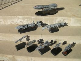 Commissioned Resin Spaceship Grouping by dinobatfan