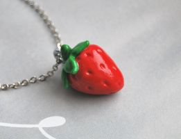 Strawberry Necklace Pendant by Madizzo